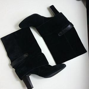 Tahari Black Suede High Heeled Boots